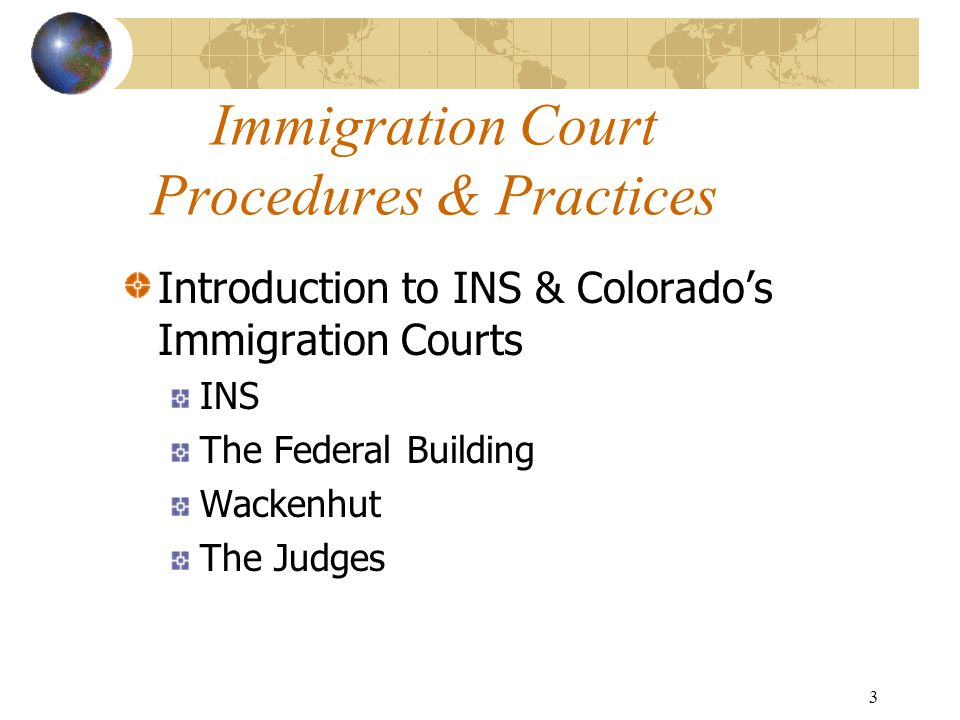 4 INS Office Address: 4730 Paris Street Denver, CO 80239 Phone Numbers: (800) 375-5283 (customer service) (303) 371-5606 (deport) (303) 371-5066 (exams) (303) 371-4711 (TAs) Hours of Operation: Monday-Thursday 7:30AM-2:30PM Parking
