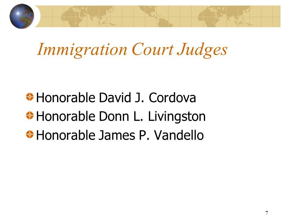 7 Immigration Court Judges Honorable David J. Cordova Honorable Donn L.