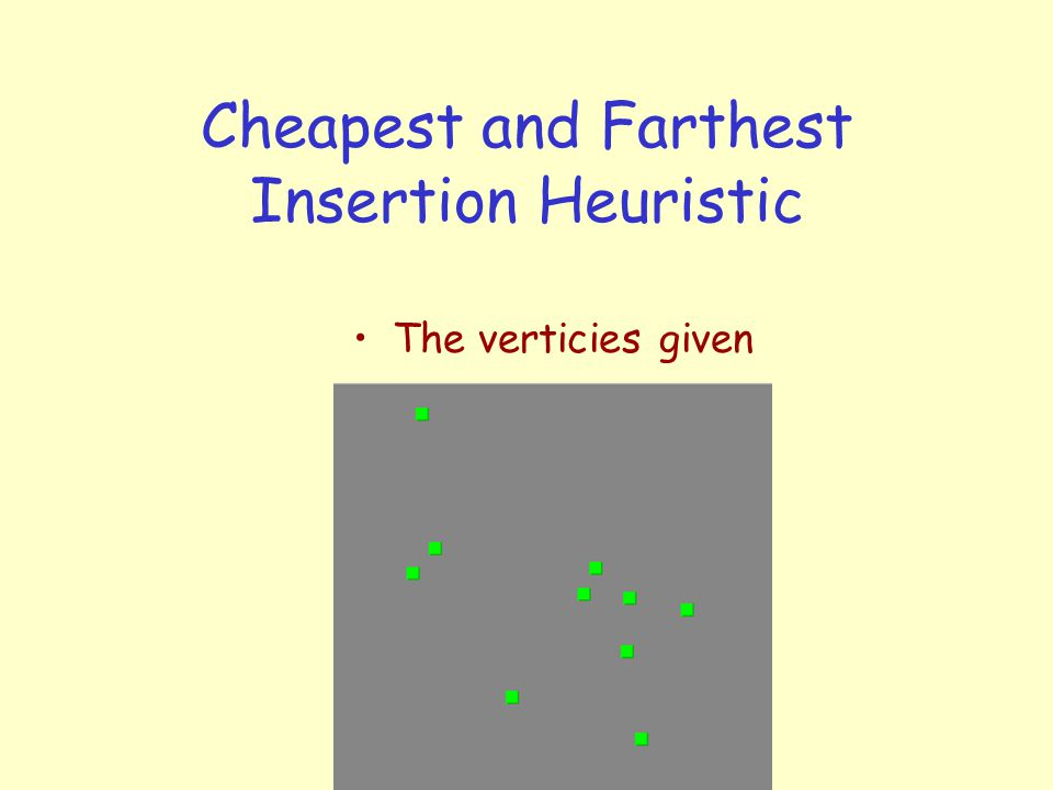 Cheapest and Farthest Insertion Heuristic The verticies given