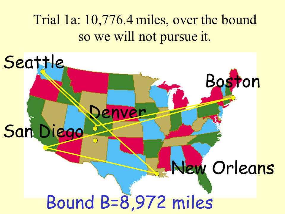 Trial 1a: 10,776.4 miles, over the bound so we will not pursue it.