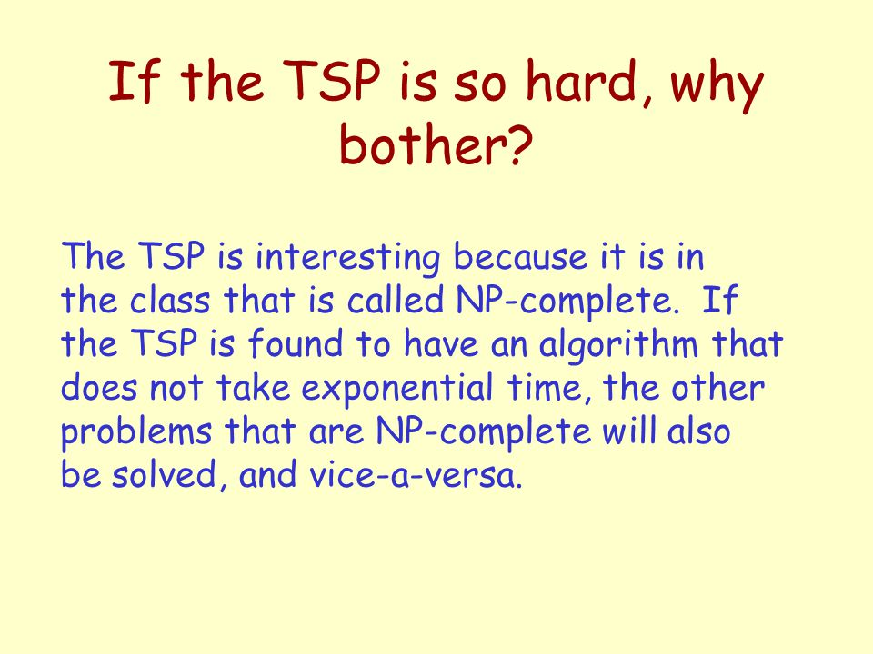 If the TSP is so hard, why bother.