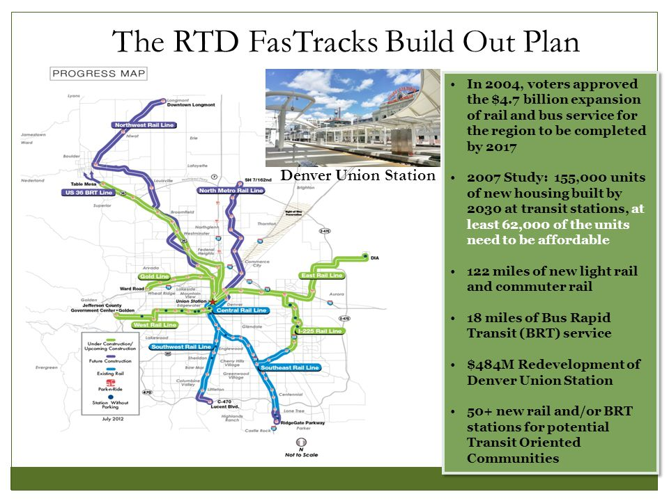 Denver TOD Fund: Background Lower income households (working families who earn between $20,000 and $55,000) spend 60% of income on housing and transportation Lower income residents are more likely to utilize transit regularly, increasing & stabilizing ridership for RTD Locating affordable housing in transit corridors allows households to reduce expenses, while increasing access to educational opportunities, jobs, food, healthcare and community services.