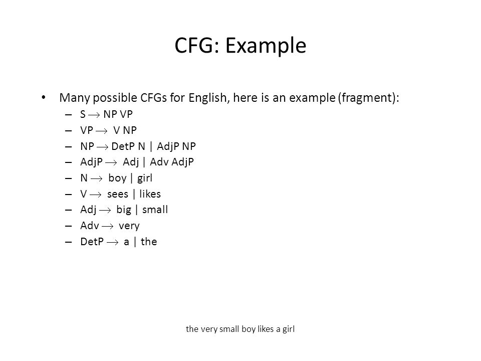 CFG: Example Many possible CFGs for English, here is an example (fragment): – S  NP VP – VP  V NP – NP  DetP N | AdjP NP – AdjP  Adj | Adv AdjP – N  boy | girl – V  sees | likes – Adj  big | small – Adv  very – DetP  a | the the very small boy likes a girl