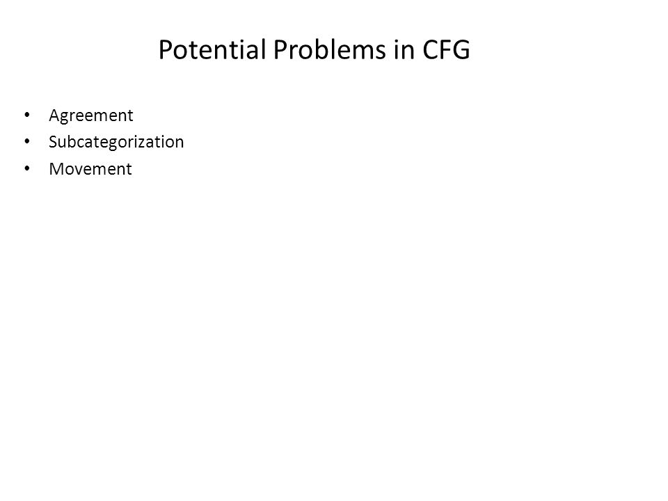 Potential Problems in CFG Agreement Subcategorization Movement