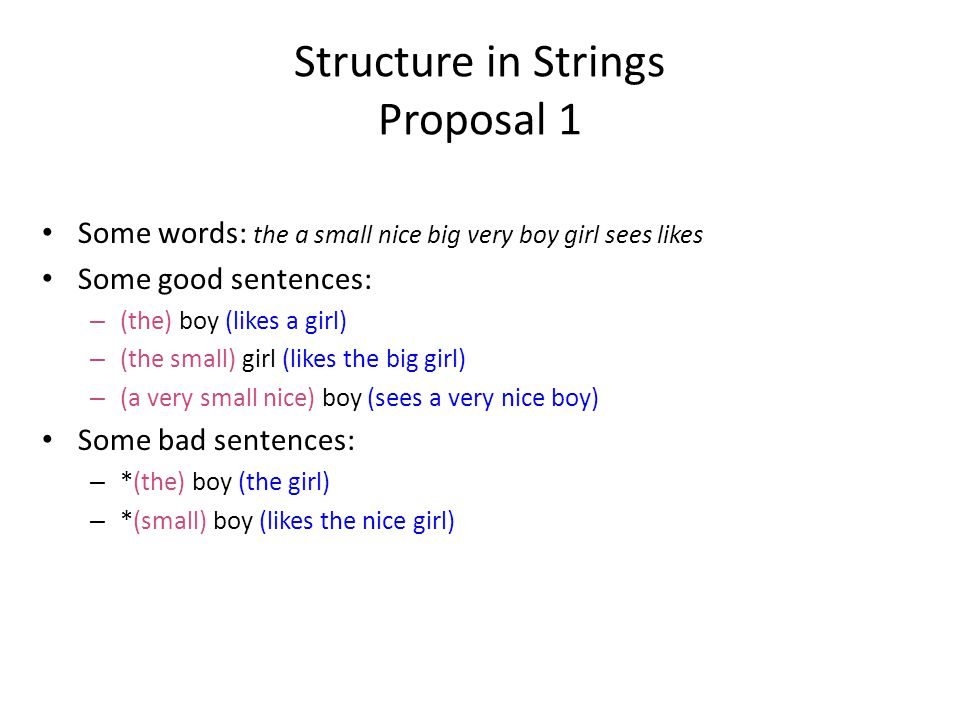 Structure in Strings Proposal 1 Some words: the a small nice big very boy girl sees likes Some good sentences: – (the) boy (likes a girl) – (the small) girl (likes the big girl) – (a very small nice) boy (sees a very nice boy) Some bad sentences: – *(the) boy (the girl) – *(small) boy (likes the nice girl)
