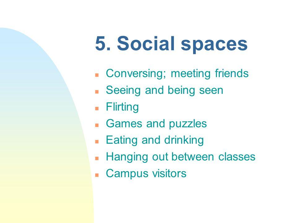 5. Social spaces n Conversing; meeting friends n Seeing and being seen n Flirting n Games and puzzles n Eating and drinking n Hanging out between clas