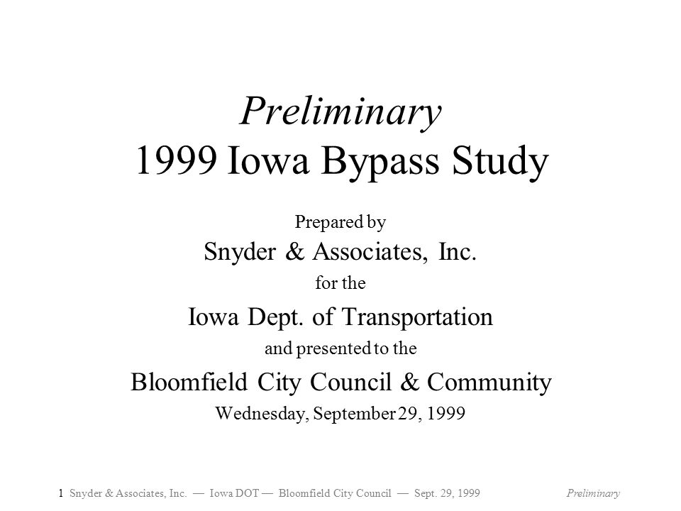 1 Snyder & Associates, Inc.— Iowa DOT — Bloomfield City Council — Sept.
