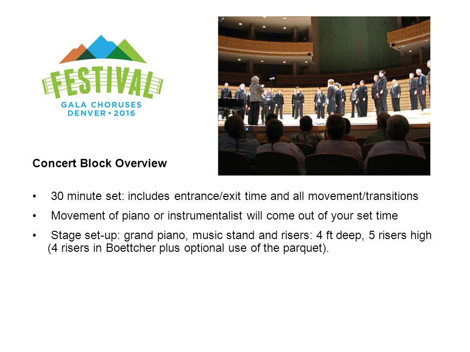 Concert Block Overview 30 minute set: includes entrance/exit time and all movement/transitions Movement of piano or instrumentalist will come out of y