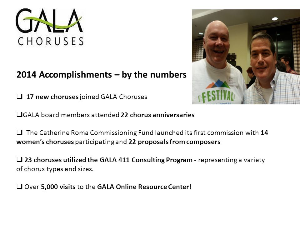 2014 Accomplishments – by the numbers  17 new choruses joined GALA Choruses  GALA board members attended 22 chorus anniversaries  The Catherine Rom