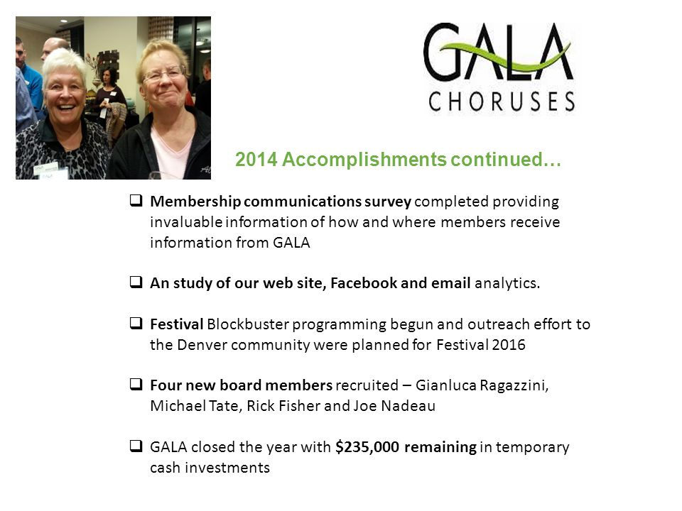 2014 Accomplishments continued…  Membership communications survey completed providing invaluable information of how and where members receive information from GALA  An study of our web site, Facebook and email analytics.