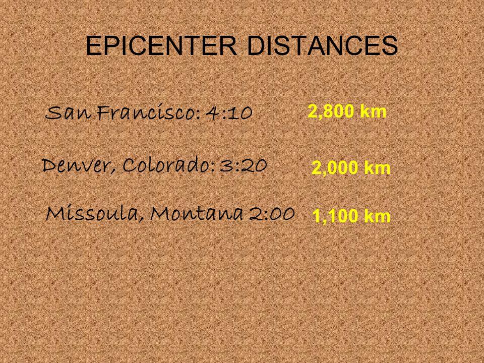 EPICENTER DISTANCES San Francisco: 4:10 Denver, Colorado: 3:20 Missoula, Montana 2:00 2,800 km 1,100 km 2,000 km
