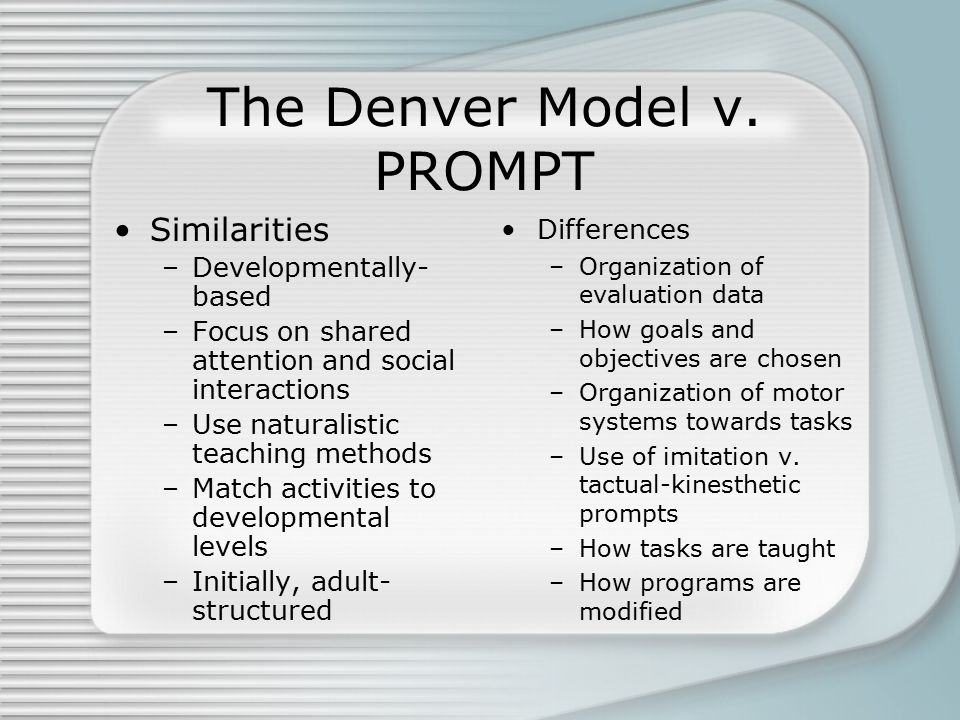 The Denver Model v. PROMPT Similarities –Developmentally- based –Focus on shared attention and social interactions –Use naturalistic teaching methods