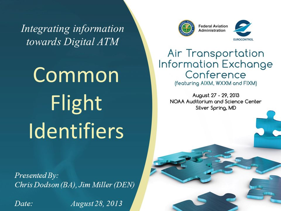 Integrating information towards Digital ATM Common Flight Identifiers Presented By: Chris Dodson (BA), Jim Miller (DEN) Date:August 28, 2013