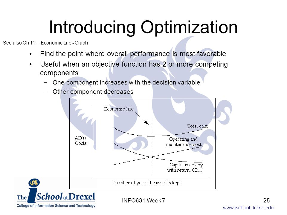 www.ischool.drexel.edu Introducing Optimization Find the point where overall performance is most favorable Useful when an objective function has 2 or more competing components –One component increases with the decision variable –Other component decreases See also Ch 11 – Economic Life - Graph 25INFO631 Week 7