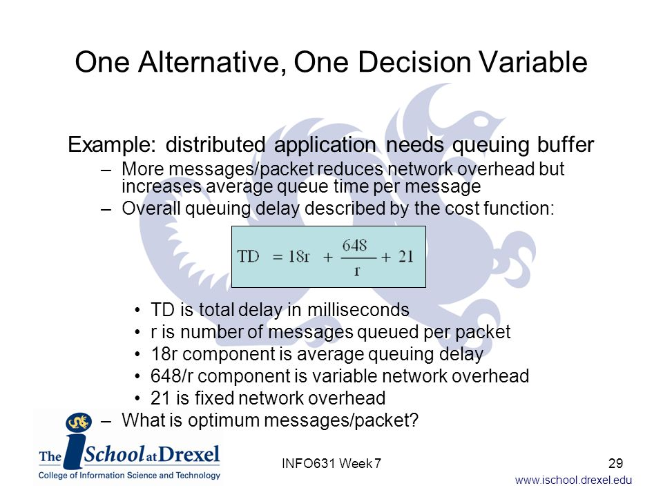 www.ischool.drexel.edu One Alternative, One Decision Variable Example: distributed application needs queuing buffer –More messages/packet reduces network overhead but increases average queue time per message –Overall queuing delay described by the cost function: TD is total delay in milliseconds r is number of messages queued per packet 18r component is average queuing delay 648/r component is variable network overhead 21 is fixed network overhead –What is optimum messages/packet.