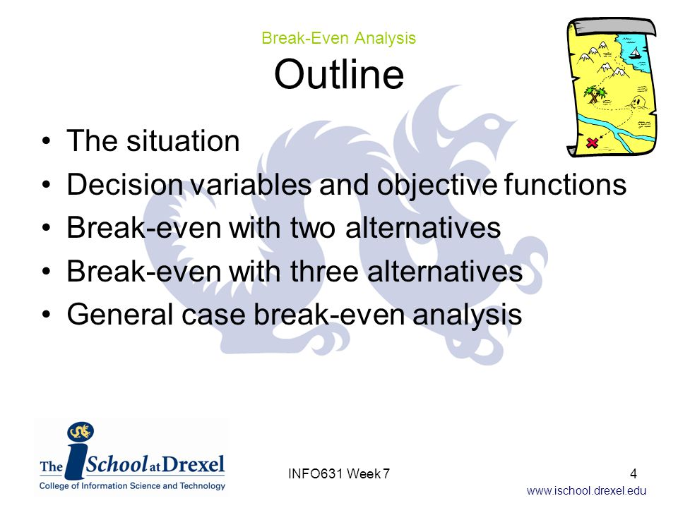 www.ischool.drexel.edu The Situation – Chicago Company Chicago-based software project team needs.Net training but hasn't decided how many people need it Team finds reputable Los Angeles-based training company Chicago project manager has two options –Send people to LA for training Cost is $1620 per person for tuition, travel, expenses, … –Hire instructor to come to Chicago Cost is $17,975 including fee, instructor travel, & expenses At what point is it better to have the instructor come to Chicago instead of sending team members to LA.