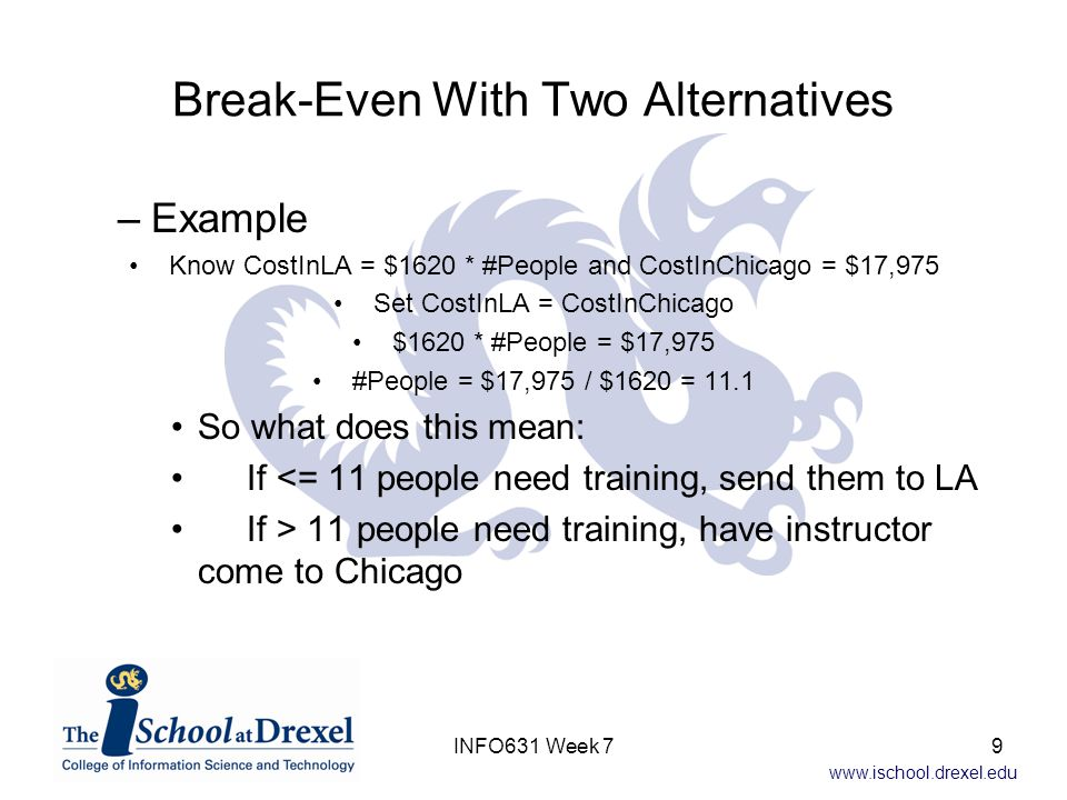www.ischool.drexel.edu One Alternative, One Decision Variable: Algebraic Solution Find the first derivative Set the first derivative equal to zero and solve for the decision variable (on next slide) The optimum messages/packet = 6 30INFO631 Week 7