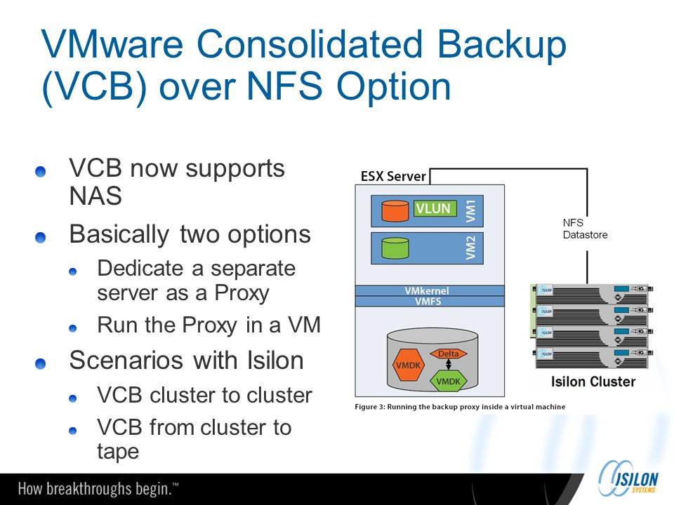VMware Consolidated Backup (VCB) over NFS Option VCB now supports NAS Basically two options Dedicate a separate server as a Proxy Run the Proxy in a V