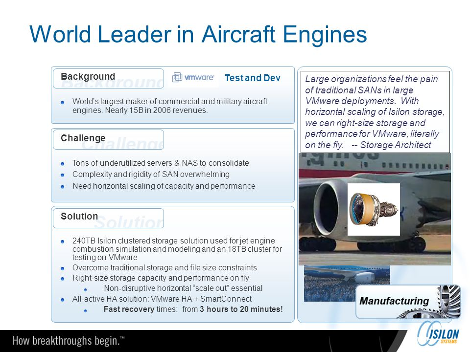 World Leader in Aircraft Engines Challenge Tons of underutilized servers & NAS to consolidate Complexity and rigidity of SAN overwhelming Need horizon