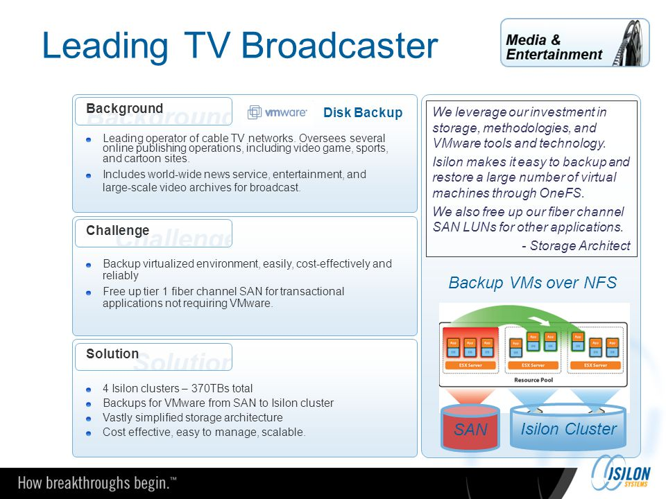 Leading TV Broadcaster Challenge Backup virtualized environment, easily, cost-effectively and reliably Free up tier 1 fiber channel SAN for transactio