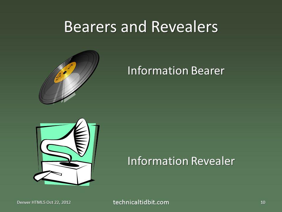 Bearers and Revealers Denver HTML5 Oct 22, 2012 technicaltidbit.com10 Information Bearer Information Revealer