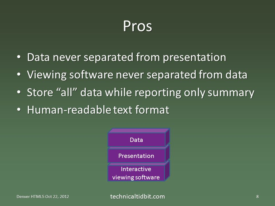 Interactive viewing software Pros Data never separated from presentation Data never separated from presentation Viewing software never separated from data Viewing software never separated from data Store all data while reporting only summary Store all data while reporting only summary Human-readable text format Human-readable text format Denver HTML5 Oct 22, 2012 technicaltidbit.com8 Presentation Data