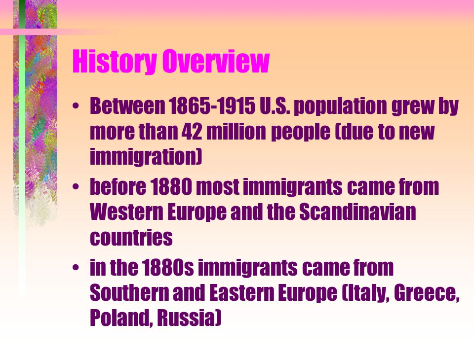 History Overview Between 1865-1915 U.S.