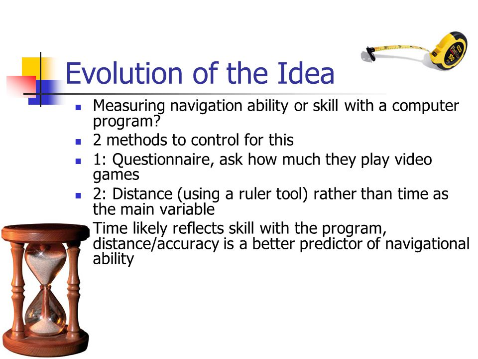Evolution of the Idea Measuring navigation ability or skill with a computer program.