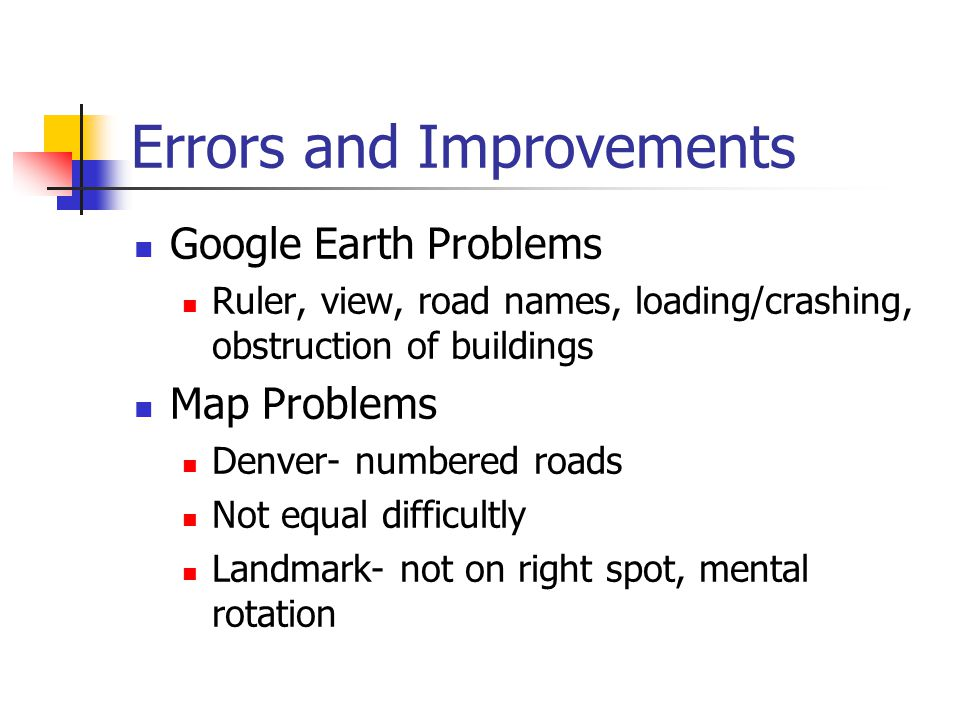 Errors and Improvements Google Earth Problems Ruler, view, road names, loading/crashing, obstruction of buildings Map Problems Denver- numbered roads Not equal difficultly Landmark- not on right spot, mental rotation