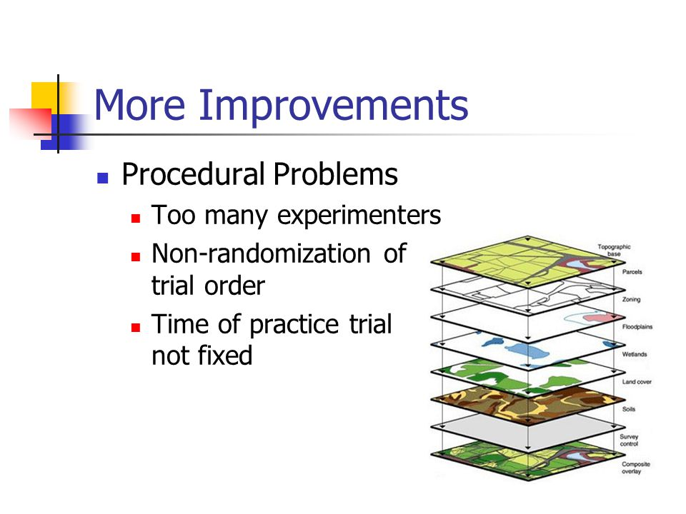 More Improvements Procedural Problems Too many experimenters Non-randomization of trial order Time of practice trial not fixed