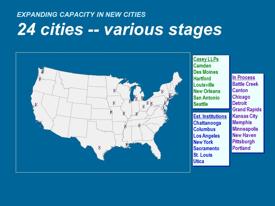 EXPANDING CAPACITY IN NEW CITIES 24 cities -- various stages Casey LLPs Camden Des Moines Hartford Louisville New Orleans San Antonio Seattle Casey LLPs Camden Des Moines Hartford Louisville New Orleans San Antonio Seattle In Process Battle Creek Canton Chicago Detroit Grand Rapids Kansas City Memphis Minneapolis New Haven Pittsburgh Portland In Process Battle Creek Canton Chicago Detroit Grand Rapids Kansas City Memphis Minneapolis New Haven Pittsburgh Portland Est.