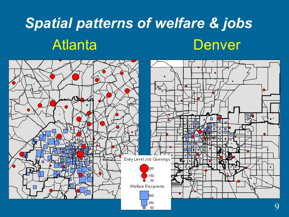 9 AtlantaDenver Spatial patterns of welfare & jobs