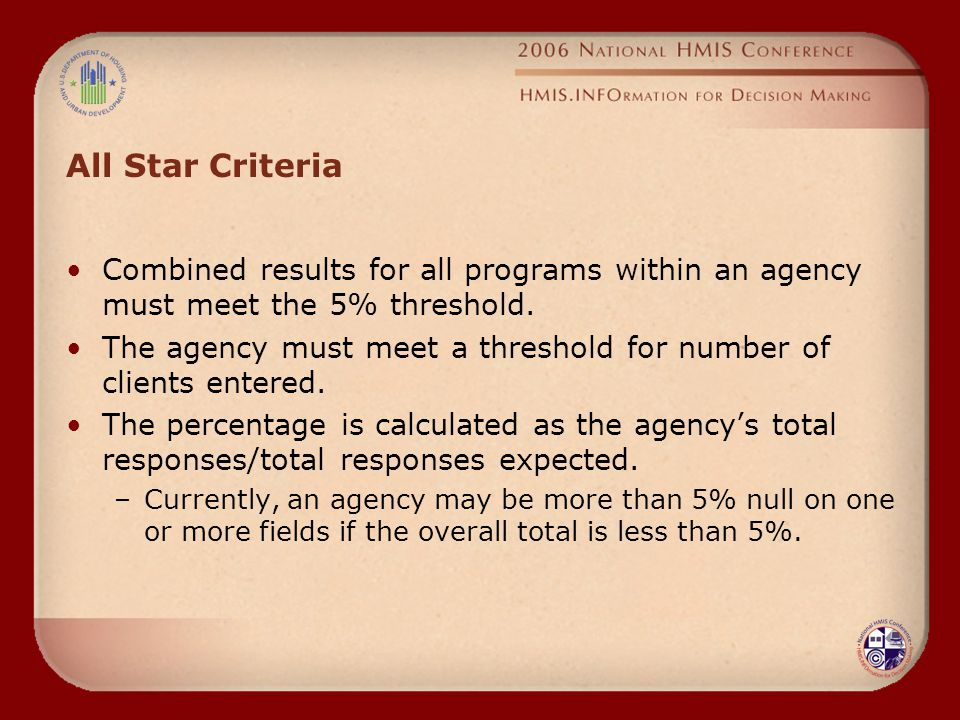 All Star Criteria Combined results for all programs within an agency must meet the 5% threshold.