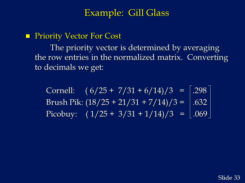 33 Slide Example: Gill Glass n Priority Vector For Cost The priority vector is determined by averaging the row entries in the normalized matrix.