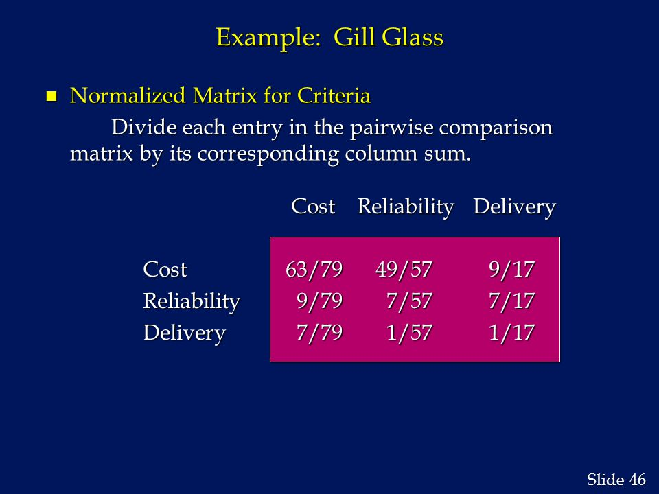 46 Slide Example: Gill Glass n Normalized Matrix for Criteria Divide each entry in the pairwise comparison matrix by its corresponding column sum.