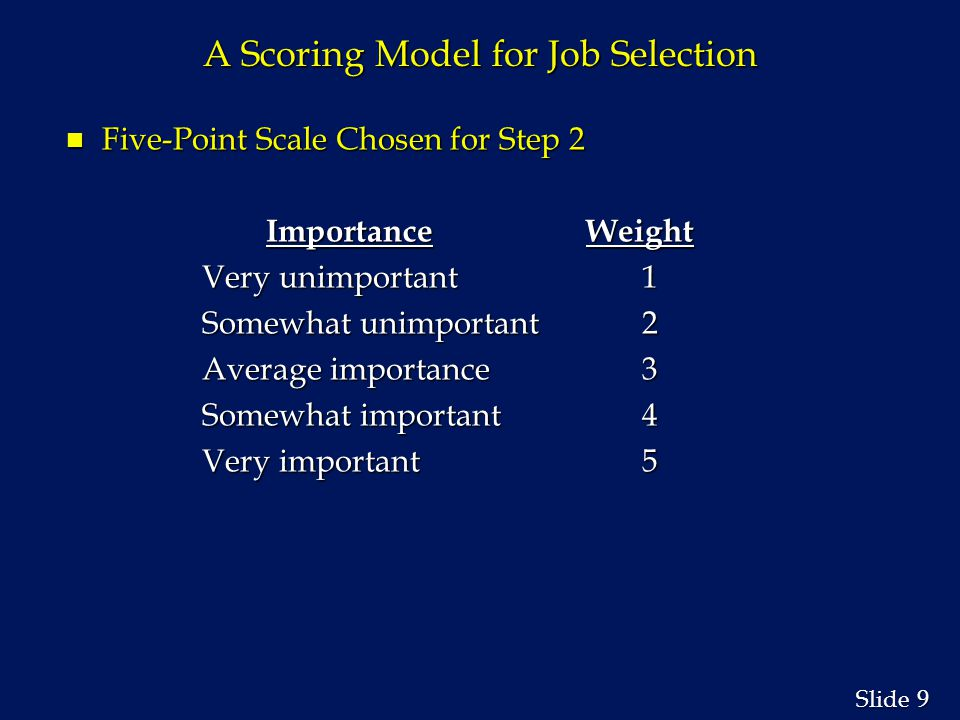 10 Slide A Scoring Model for Job Selection n Step 2: Assign a weight to each criterion.