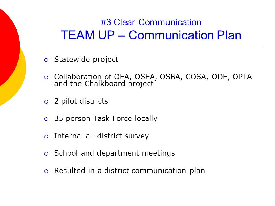 #3 Clear Communication TEAM UP – Communication Plan  Statewide project  Collaboration of OEA, OSEA, OSBA, COSA, ODE, OPTA and the Chalkboard project  2 pilot districts  35 person Task Force locally  Internal all-district survey  School and department meetings  Resulted in a district communication plan
