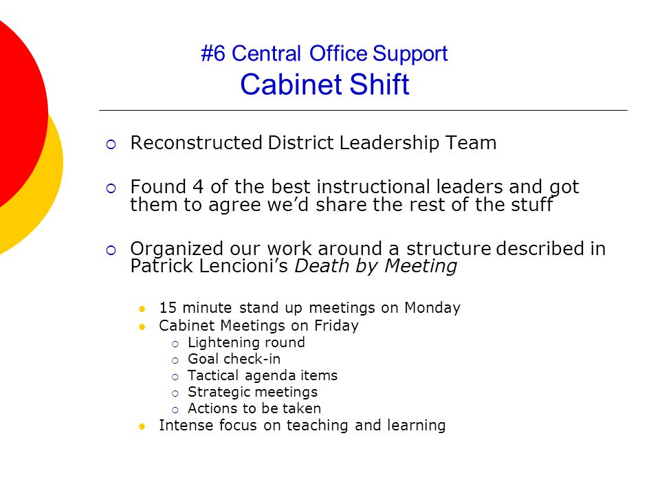 #6 Central Office Support Cabinet Shift  Reconstructed District Leadership Team  Found 4 of the best instructional leaders and got them to agree we'd share the rest of the stuff  Organized our work around a structure described in Patrick Lencioni's Death by Meeting 15 minute stand up meetings on Monday Cabinet Meetings on Friday  Lightening round  Goal check-in  Tactical agenda items  Strategic meetings  Actions to be taken Intense focus on teaching and learning