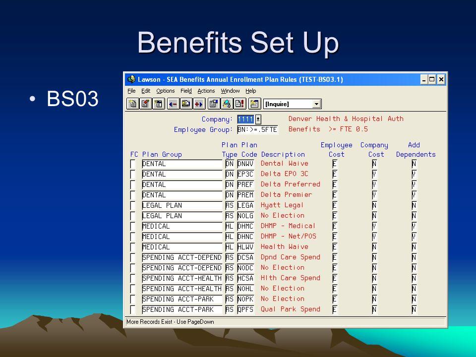 Benefits Set Up BS03