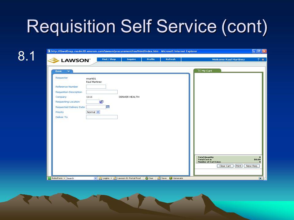 Requisition Self Service (cont) 8.1