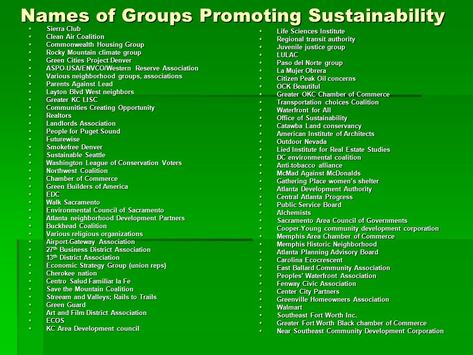 Names of Groups Promoting Sustainability  Sierra Club  Clean Air Coalition  Commonwealth Housing Group  Rocky Mountain climate group  Green Cities Project Denver  ASPO-USA/ENVCO/Western Reserve Association  Various neighborhood groups, associations  Parents Against Lead  Layton Blvd West neighbors  Greater KC LISC  Communities Creating Opportunity  Realtors  Landlords Association  People for Puget Sound  Futurewise  Smokefree Denver  Sustainable Seattle  Washington League of Conservation Voters  Northwest Coalition  Chamber of Commerce  Green Builders of America  EDC  Walk Sacramento  Environmental Council of Sacramento  Atlanta neighborhood Development Partners  Buckhead Coalition  Various religious organizations  Airport-Gateway Association  27 th Business District Association  13 th District Association  Economic Strategy Group (union reps)  Cherokee nation  Centro Salud Familiar la Fe  Save the Mountain Coalition  Streeam and Valleys; Rails to Trails  Green Guard  Art and Film District Association  ECOS  KC Area Development council  Life Sciences Institute  Regional transit authority  Juvenile justice group  LULAC  Paso del Norte group  La Mujer Obrera  Citizen Peak Oil concerns  OCK Beautiful  Greater OKC Chamber of Commerce  Transportation choices Coalition  Waterfront for All  Office of Sustainability  Catawba Land conservancy  American Institute of Architects  Outdoor Nevada  Lied Institute for Real Estate Studies  DC environmental coalition  Anti-tobacco alliance  McMad Against McDonalds  Gathering Place women's shelter  Atlanta Development Authority  Central Atlanta Progress  Public Service Board  Alchemists  Sacramento Area Council of Governments  Cooper-Young community development corporation  Memphis Area Chamber of Commerce  Memphis Historic Neighborhood  Atlanta Planning Advisory Board  Carolina Ecocrescent  East Ballard Community Association  Peoples' Waterfront Association  Fenway Civic Association  Center City Partners  Greenville Homeowners Association  Walmart  Southeast Fort Worth Inc.