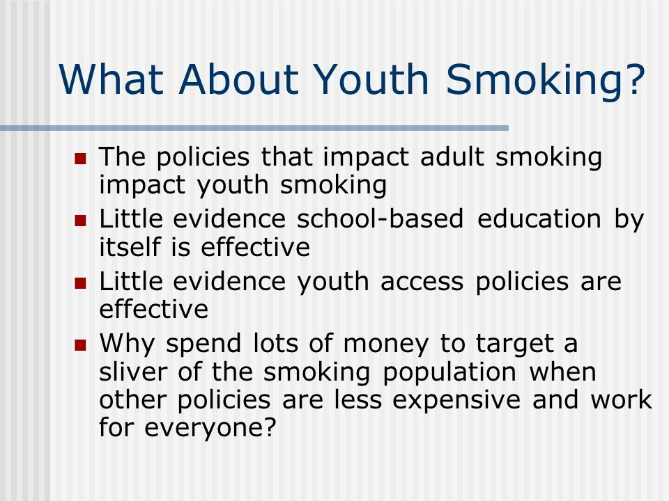 What About Youth Smoking.
