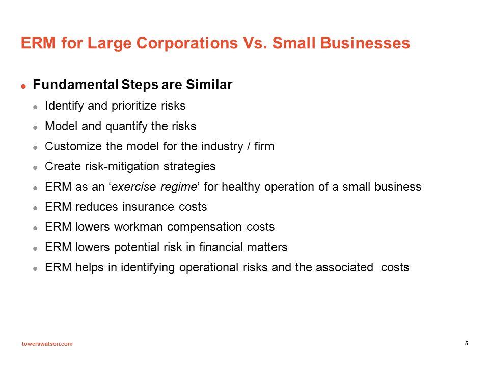 towerswatson.com ERM IN SMALL Businesses Risk Metrics and ERM in Restaurants Financial Metrics Operational Metrics