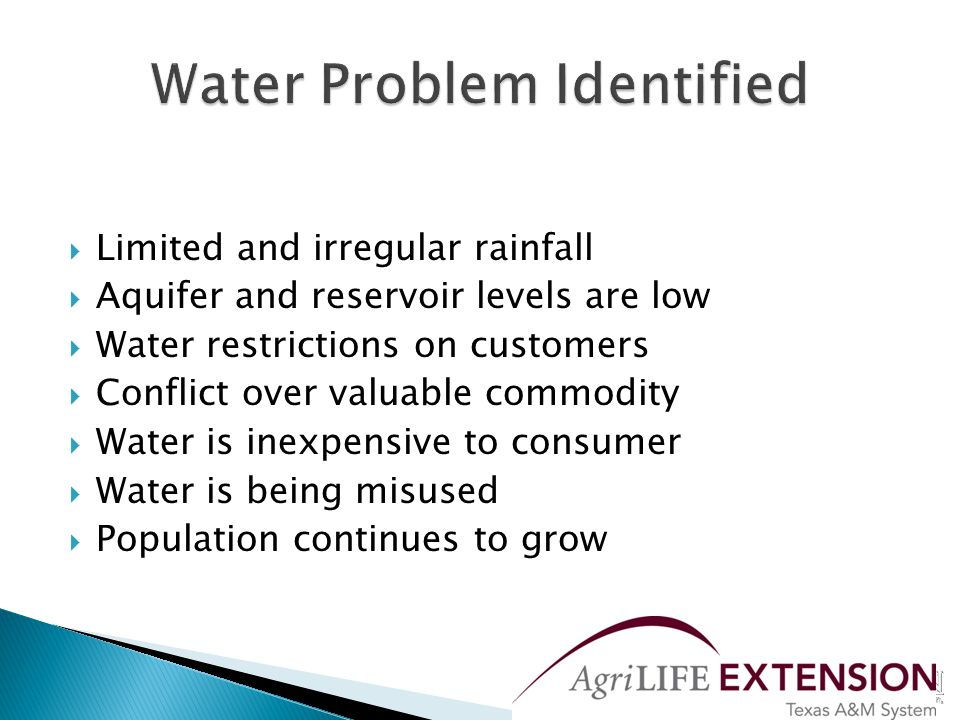  The lack of regulations covering water-saving  Policies based on increasing the supply  Ignorance of the existence of water-saving technology enabling more efficient use of water in the home  Attitude of abundance