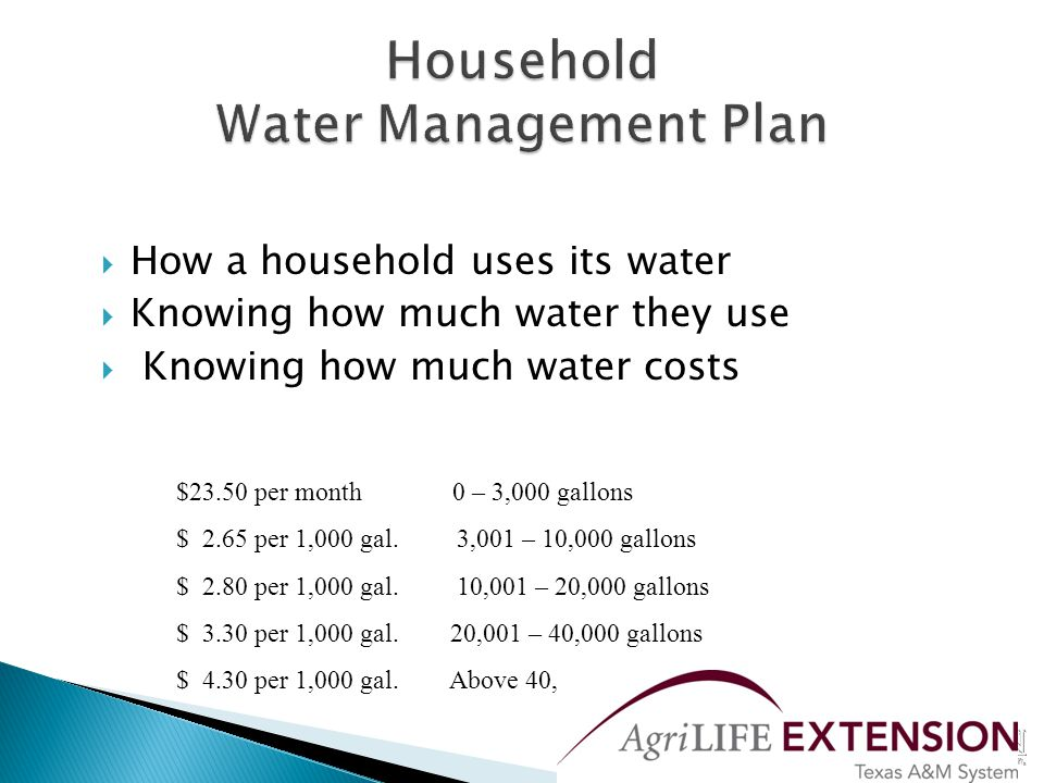  How a household uses its water  Knowing how much water they use  Knowing how much water costs $23.50 per month 0 – 3,000 gallons $ 2.65 per 1,000 gal.