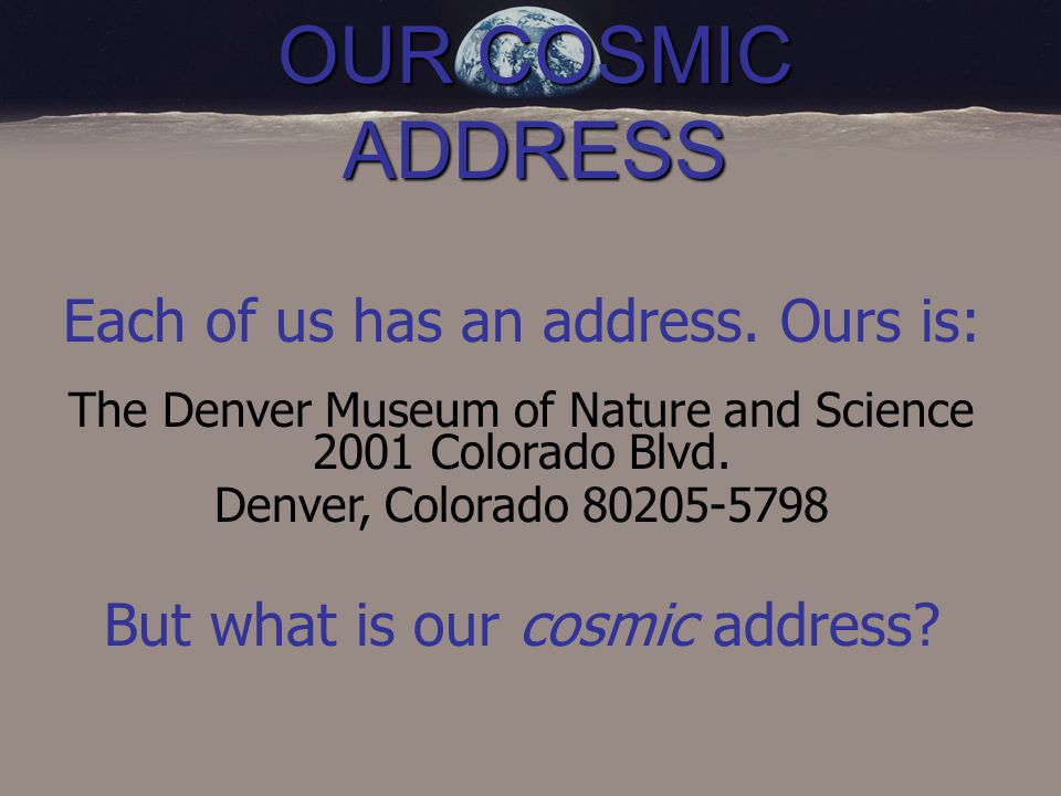 OUR COSMIC ADDRESS So Where Do We Live? On the Planet Earth!