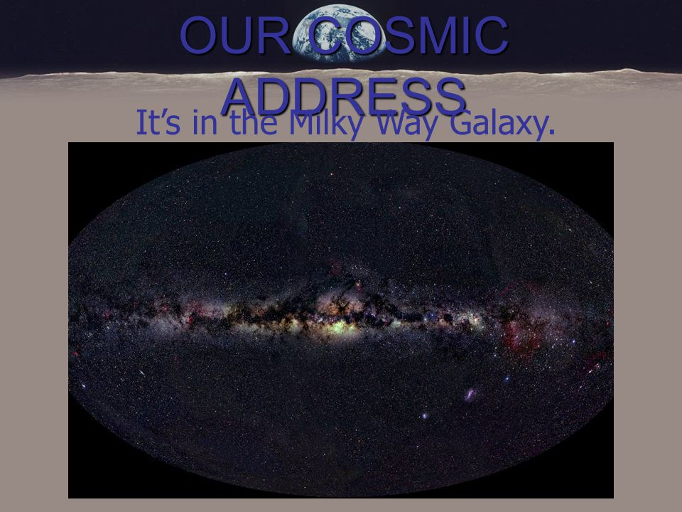 OUR COSMIC ADDRESS It's in the Milky Way Galaxy.