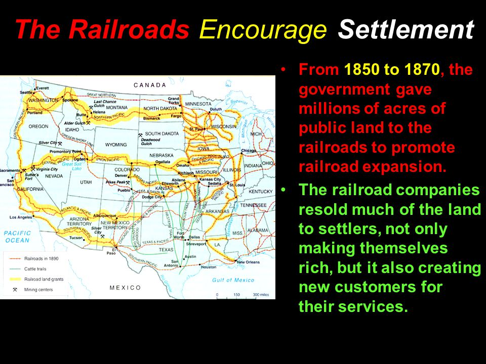 The Railroads Encourage Settlement From 1850 to 1870, the government gave millions of acres of public land to the railroads to promote railroad expansion.