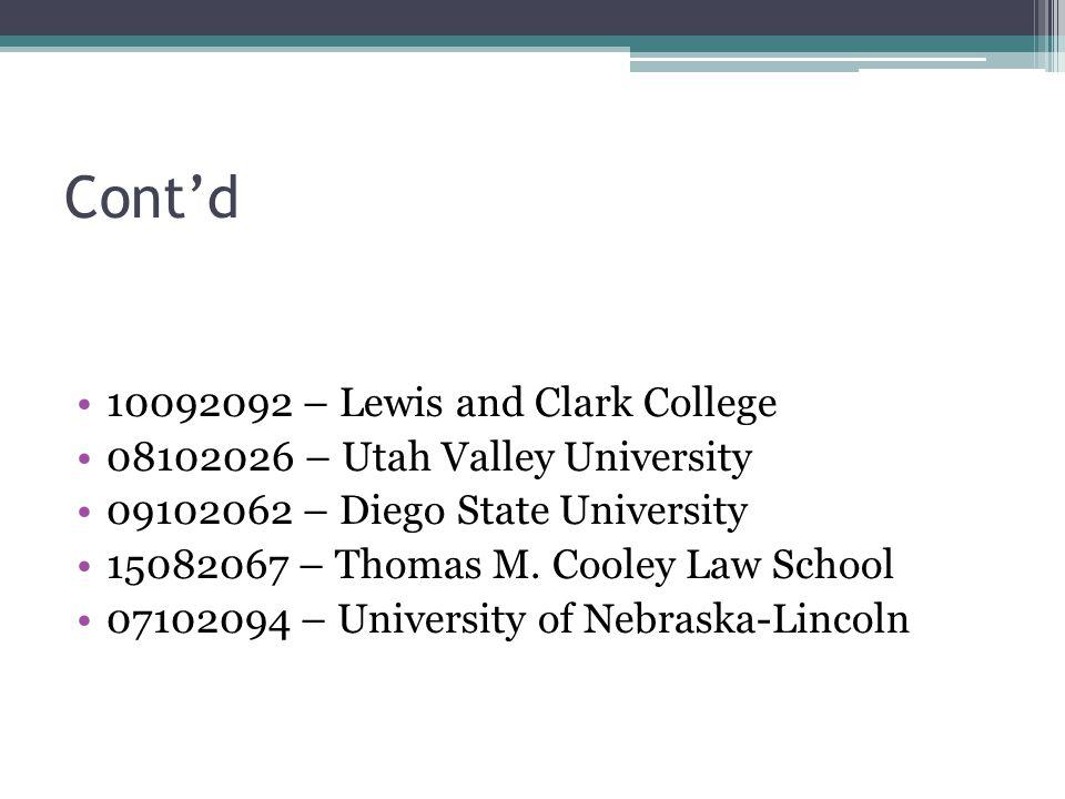 Cont'd Suspension/Readmission: 15102098 – Spring Arbor University Grievance Procedures: 09102062 – San Diego State University