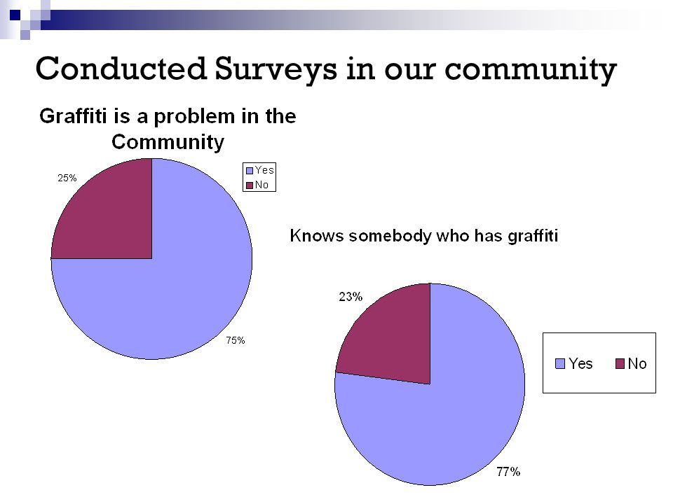 Conducted Surveys in our community
